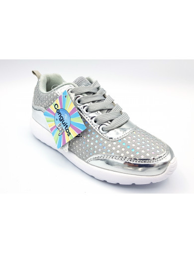 CONGUITOS Zapatillas luces glitter cordones